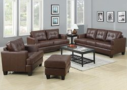 Coaster Home Furnishings Samuel Living Room Set with Sofa , Love Seat , Chair , and Ottoman in B ...