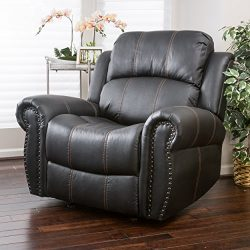 Harbor Black Faux Leather Gliding Recliner
