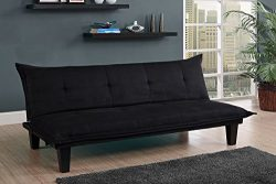 DHP Lodge Convertible Futon Couch Bed with Microfiber Upholstery and Wood Legs – Black