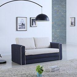 Modern 2 Tone Modular / Convertible Sleeper (Dark Blue / Beige)