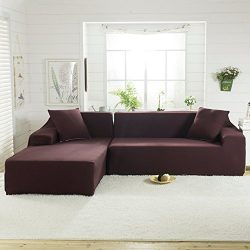 Fannybuy Stretch Sectional Sofa Cover for L Shape Polyester Fabric Elastic Couch Slipcovers (Cho ...
