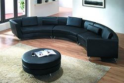 Modern Line Furniture 8004B-G5 Contemporary Leather Curved Sectional Sofa with Ottoman Restauran ...