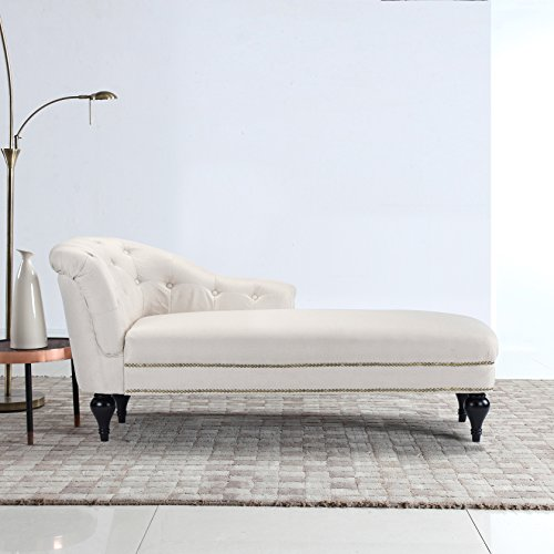 Large Classic Tufted Button Linen Fabric Living Room Chaise Lounge With Nailhead Trim Beige