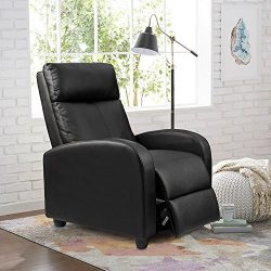 Homall Single Recliner Chair Padded Seat Black PU Leather Home Theater Recliner Modern Recliner  ...
