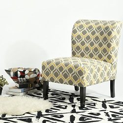 Grey and Yellow Fabric Accent Chair with Wooden Legs