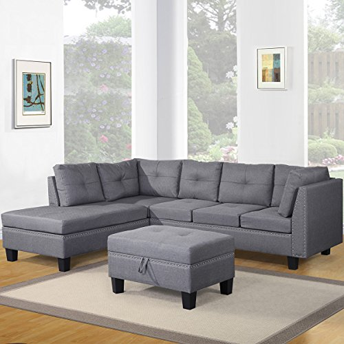 Harper Bright Designs Contemporary 3 Piece Sectional Sofa Set With