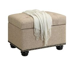 Convenience Concepts Designs4Comfort Storage Ottoman, Tan