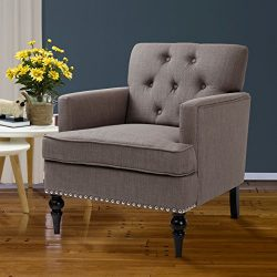 Finnkarelia Grey Accent Chair for Living Room Contemporary Arm Club Chair with Armrest and Solid ...