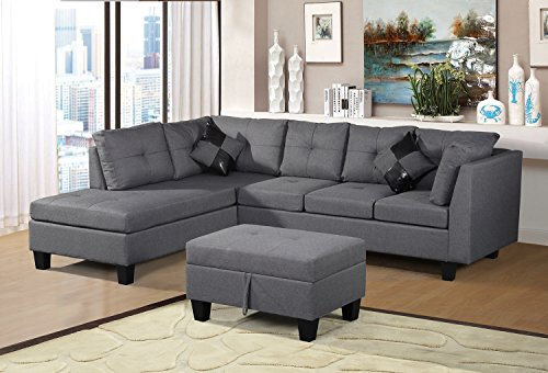 Merax Sofa 3 Piece Sectional Sofa With Chaise Lounge
