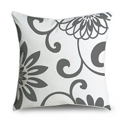 FabricMCC Throw Pillow Covers Damask Gray and White Decorative Throw Pillowcase Cushion Cover fo ...