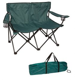 Trademark Innovations Loveseat Style Double Camp Chair with Steel Frame, 31.5″, Dark Green