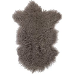 Sova Home Genuine Mongolian Lamb Rug (2′ x 3′, Grey) | Fur Throw Natural Fur Accent  ...
