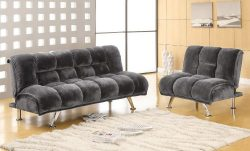 Furniture of America Lennie Champion Fabric Convertible Sofa and Chair Set, Gray
