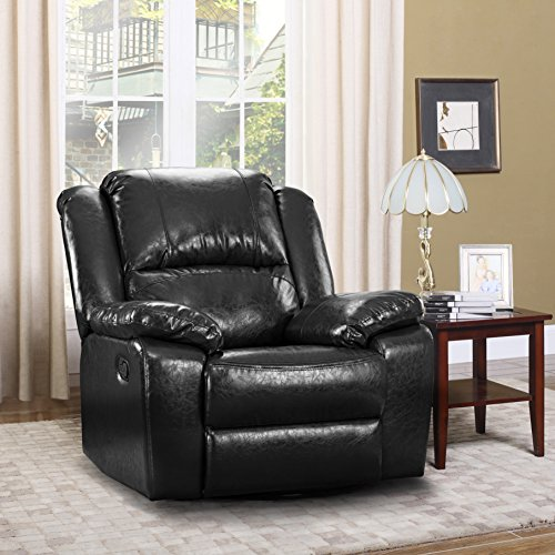 Top 4 Comfortable Chairs For Living Room: Oversize Ultra Comfortable Bonded Leather Rocker And
