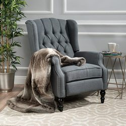 Elizabeth Tufted Charcoal Fabric Recliner Arm Chair
