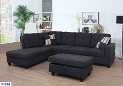 Beverly Fine Furniture F125A Left Facing Linen Russes Sectional Sofa Set with Ottoman, DARK GREY