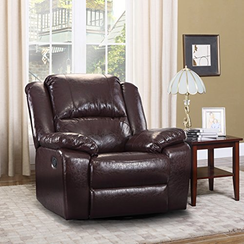 Oversize Ultra Comfortable Bonded Leather Rocker And