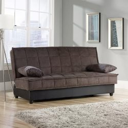 Convertible Comfy Sofa, Chocolate Microsuede. This Sleeper Sofa Is Perfect For Guests. The Styli ...