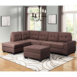 Harper & Bright Designs 3 Piece Sectional Sofa Microfiber with Reversible Chaise Lounge Stor ...