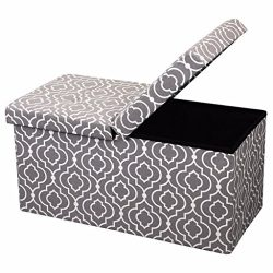 Otto and Ben 30-in SMART LIFT TOP Upholstered Ottoman Storage Bench – Moroccan Grey feat. cushio ...