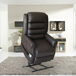MAGIC UNION Power Lift Recliner Heated Vibrating Massage Chair Lounge Sofa with Control Wheels(C ...