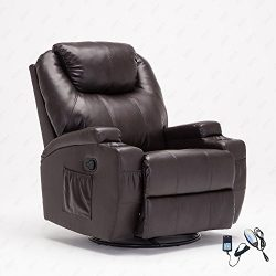 RECLINER GENIUS Leather Recliner Chair Heated Massage 360 Degree Swivel Living Room Chair , Brown
