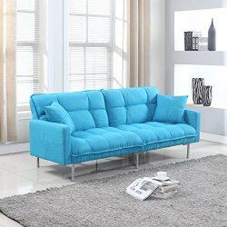 Divano Roma Furniture Collection – Modern Plush Tufted Linen Fabric Splitback Living Room  ...
