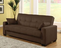 Pearington Mia Microfiber Sofa Sleeper Bed and Lounger with Storage, Mocha