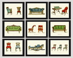 Blue Red Green Sofa Chair Antique Furniture Print Set of 9 Prints Beautiful Home Room Decor Wall ...