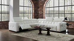 Creative Furniture Riley Sectional with Power Recliners, Off-White