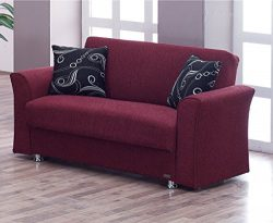 BEYAN Ohio Collection Convertible Modern Love Seat with Storage Space and Includes 2 Pillows, Bu ...