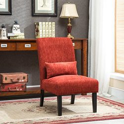 Roundhill Furniture AC160RD Red Pisano Chenille Fabric Armless Contemporary Accent Chair with Ma ...