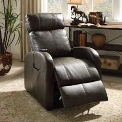 ACME Furniture 59405 Ricardo Recliner with Power Lift, Dark Gray PU