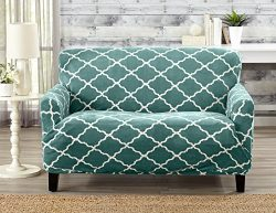Modern Velvet Plush Strapless Slipcover. Form Fit Stretch, Stylish Furniture Shield / Protector. ...
