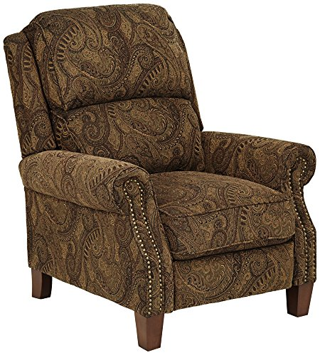 Beaumont Warm Brown Paisley Push Thru Arm 3 Way Recliner
