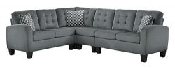 Homelegance Sinclair L-Shaped 2-Piece Sectional Sofa with Tufted Accents and Three Geometric Pat ...
