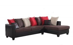 RealOne 2 Piece Fabric and Faux Leather Sectional Sofa and Chaise, Chocolate Brown with Red Acce ...