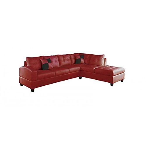 Reversible Sectional Sofa White Bonded Leather Match Sofas: ACME Kiva Red Bonded Leather Reversible Sectional Sofa