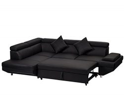 Corner Sofa Bed, 2 Piece Modern Contemporary Faux Leather Sectional Sofa Black
