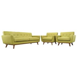 Modway Engage Mid-Century Modern Upholstered Fabric Sofa and Two Armchair Set In Wheatgrass
