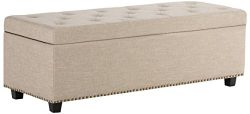 Simpli Home Hamilton Rectangular Storage Ottoman Bench, Large, Natural