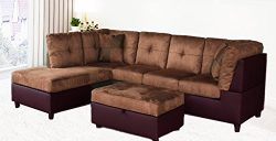 Legend 3 Piece Microfiber and Faux Leather Right-Facing Sectional Sofa Set with Free Storage Ott ...