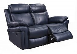 Oliver Pierce OP0038 Hudson Reclining Leather, Loveseat, Blue