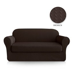 Subrtex 2-Piece Print Jacquard Spandex Fabric Stretch Sofa Slipcovers (Loveseat, Chocolate)