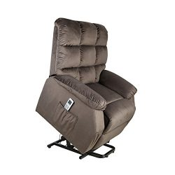 Power Lift Recliner Sofa Chair with Massage and Heating, Ergonomic Paded Suede Biscuit Back Desi ...
