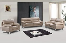 GU Industries 9436-BEIGE-3PC Azalea Sofa Set Upholstered