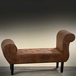 The Cozy Chesterfield Chase Lounge, Deeply Tufted Antique Brown, Faux Leather, Approximately 4 F ...