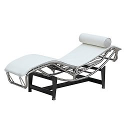 Mid Century Modern Classic Le Corbusier LC-4 Style Replica Chaise Lounge Chair With Premium PU W ...