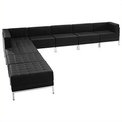 ZB-IMAG-SECT-SET11-GG HERCULES Imagination Series Black Leather Sectional Configuration 9 Pieces