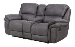 Bradford Living KPI001005 Atlantic Reclining Console, Power Loveseat, Gray